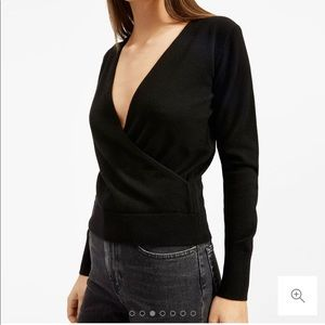 Everlane black cashmere wrap sweater, Small